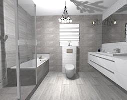 Szarość i biała cegła - Średnia łazienka w bloku w domu jednorodzinnym z oknem, styl rustykalny - zdjęcie od PŁYTKI-SKLEP24