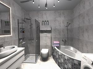 Mała łazienka w wielkim formacie - Średnia szara łazienka na poddaszu w bloku w domu jednorodzinnym bez okna, styl nowoczesny - zdjęcie od PŁYTKI-SKLEP24