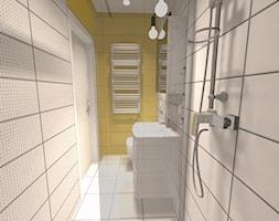 Biuro - Mała biała żółta łazienka na poddaszu w bloku w domu jednorodzinnym bez okna - zdjęcie od CzerwonyAtrament