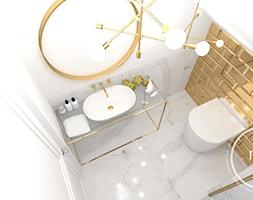 Projekt łazienki, Tarnów, 2018 - Mała biała szara łazienka na poddaszu w bloku w domu jednorodzinnym bez okna, styl nowoczesny - zdjęcie od M&M pracownia projektowania wnętrz