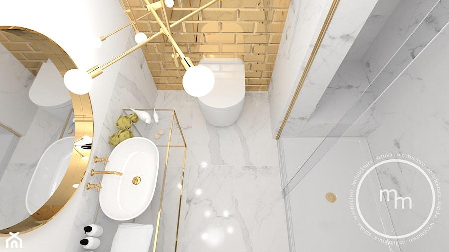Projekt łazienki, Tarnów, 2018 - Mała biała łazienka w bloku w domu jednorodzinnym bez okna, styl nowoczesny - zdjęcie od M&M pracownia projektowania wnętrz