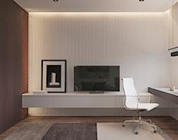 INTELLIGENCE - Małe szare białe biuro kącik do pracy, styl nowoczesny - zdjęcie od Tobi Architects - Homebook