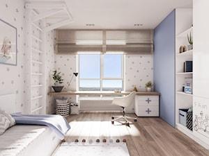 Light & Blue - Średni szary niebieski pokój dziecka dla chłopca dla dziewczynki dla ucznia dla malucha dla nastolatka, styl minimalistyczny - zdjęcie od Tobi Architects