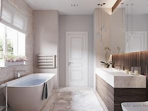 CHERRY MOOD - Średnia biała beżowa łazienka z oknem, styl klasyczny - zdjęcie od Tobi Architects