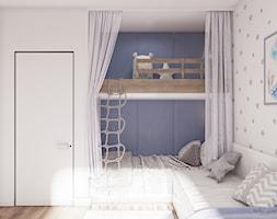 Light & Blue - Mały biały szary pokój dziecka dla chłopca dla dziewczynki dla rodzeństwa dla malucha dla nastolatka, styl minimalistyczny - zdjęcie od Tobi Architects