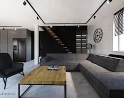 Nowoczesny, loftowy salon z kuchnią i jadalnią - zdjęcie od sandroom - Homebook