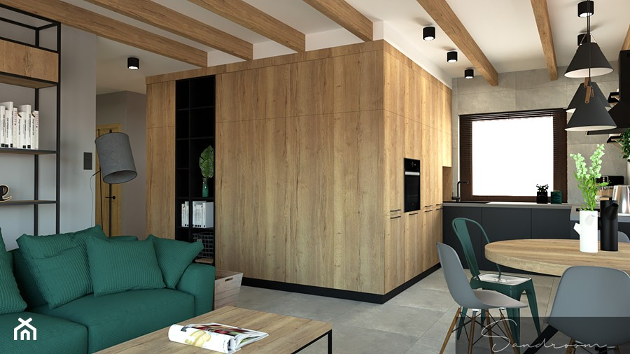 Czarna kuchnia z betonem oraz drewnem - zdjęcie od sandroom