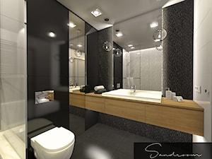Elegancka łazienka z dodatkiem czerni i ciepłego drewna - zdjęcie od sandroom