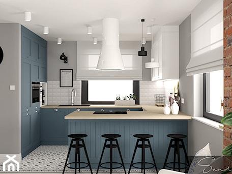 Aranżacje wnętrz - Kuchnia: Niebieska kuchnia - sandroom. Przeglądaj, dodawaj i zapisuj najlepsze zdjęcia, pomysły i inspiracje designerskie. W bazie mamy już prawie milion fotografii!