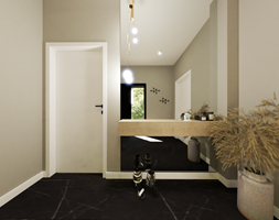 Nowoczesny, przytulny dom w beżach i czarno- złotych akcentach - zdjęcie od sandroom - Homebook