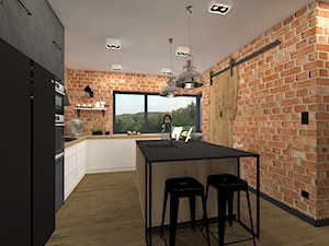 Kuchnia z naturalnym drewnem, cegłą i fornirem kamiennym - zdjęcie od sandroom
