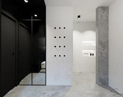 Biało-czarna łazienka z loftowym akcentem - zdjęcie od sandroom - Homebook
