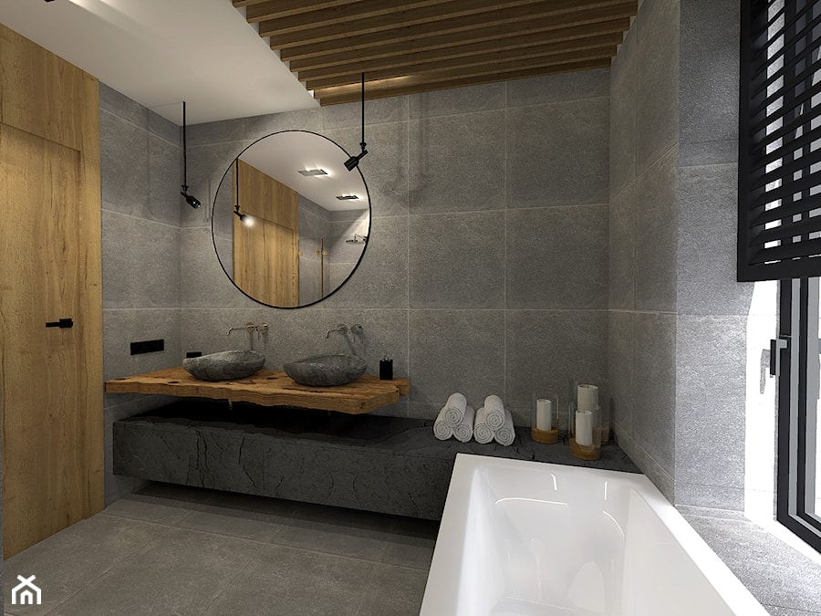 łazienka W Naturalnym Kamieniu Z Dekoracyjnm Mchem Na