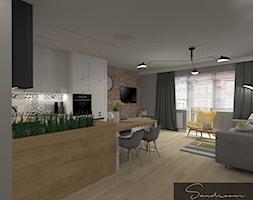 Przytulny salon z kuchnią w stylu skandynawskim - zdjęcie od sandroom