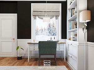 Dom w stylu art-deco - Małe czarne białe biuro kącik do pracy, styl art deco - zdjęcie od ARCH-BOOM