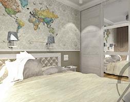 PROJEKT WNĘTRZA - SYPIALNIA TYCHY - Mała szara sypialnia małżeńska, styl klasyczny - zdjęcie od AM PROJEKT Adrian Muszyński