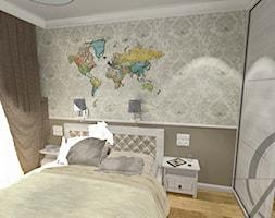 PROJEKT WNĘTRZA - SYPIALNIA TYCHY - Mała szara brązowa sypialnia małżeńska, styl klasyczny - zdjęcie od AM PROJEKT Adrian Muszyński