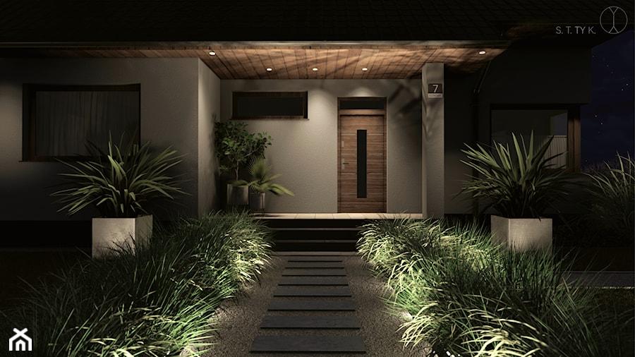 Strefa wejściowa ogrodu nocą - zdjęcie od Pracownia STTYK | Architektura Wnętrz i Krajobrazu | Projektowanie wnętrz i ogrodów | TRÓJMIASTO