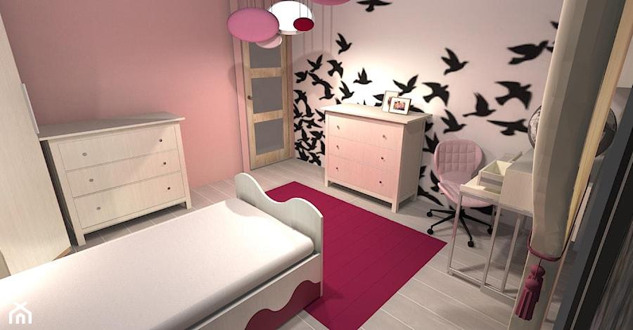 pokoj dziewczynki - Mały szary różowy pokój dziecka dla dziewczynki dla ucznia dla malucha dla nastolatka, styl art deco - zdjęcie od JMproject Justyna Pietrzykowska
