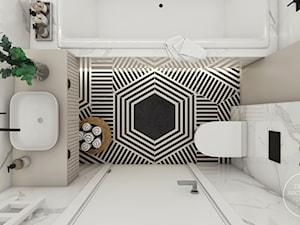 Pokój nastolatki w stylu boho - Średnia beżowa łazienka w bloku w domu jednorodzinnym bez okna, styl nowoczesny - zdjęcie od DEZEEN ARCHITEKCI Natalia Pęcka