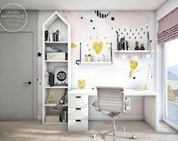 Dziecięce pokoiki dla dziewczynek - Mały szary różowy pokój dziecka dla chłopca dla dziewczynki dla ucznia dla nastolatka, styl nowoczesny - zdjęcie od DEZEEN ARCHITEKCI Natalia Pęcka