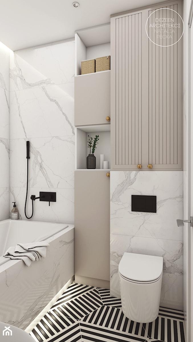 Pokój nastolatki w stylu boho - Mała beżowa łazienka w bloku w domu jednorodzinnym bez okna, styl vintage - zdjęcie od DEZEEN ARCHITEKCI Natalia Pęcka