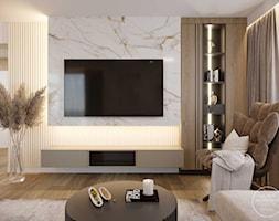 Projekt wnętrza domu w ciepłych barwach - Salon, styl nowoczesny - zdjęcie od DEZEEN ARCHITEKCI Natalia Pęcka - Homebook