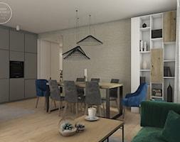 Mieszkanie w stylu skandynawskim - Średnia otwarta jadalnia w kuchni w salonie, styl skandynawski - zdjęcie od DEZEEN ARCHITEKCI Natalia Pęcka
