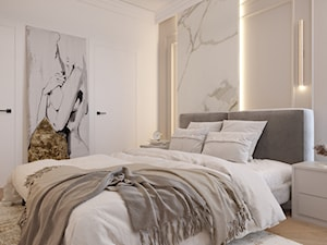 Przytulne, eleganckie wnętrze domu w beżu i złocie