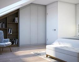 Dom w zimowej tonacji - Średnia biała sypialnia małżeńska na poddaszu, styl nowoczesny - zdjęcie od DEZEEN ARCHITEKCI Natalia Pęcka