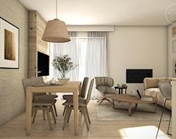 Mieszkanie w naturalnych barwach - Mały biały beżowy salon z jadalnią, styl nowoczesny - zdjęcie od DEZEEN ARCHITEKCI Natalia Pęcka