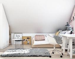 Pokój nastolatki - Średni biały różowy pokój dziecka dla dziewczynki dla ucznia dla nastolatka, styl nowoczesny - zdjęcie od DEZEEN ARCHITEKCI Natalia Pęcka
