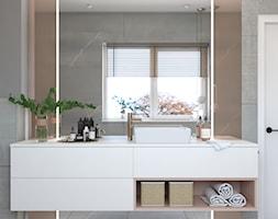 Minimalistyczne wnętrze z koralowymi dodatkami - Średnia beżowa szara łazienka z oknem, styl nowocz ... - zdjęcie od DEZEEN ARCHITEKCI Natalia Pęcka - Homebook