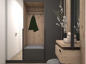 Mieszkanie w ciemnych barwach z dodatkiem zieleni - Hol / przedpokój, styl nowoczesny - zdjęcie od DEZEEN ARCHITEKCI Natalia Pęcka