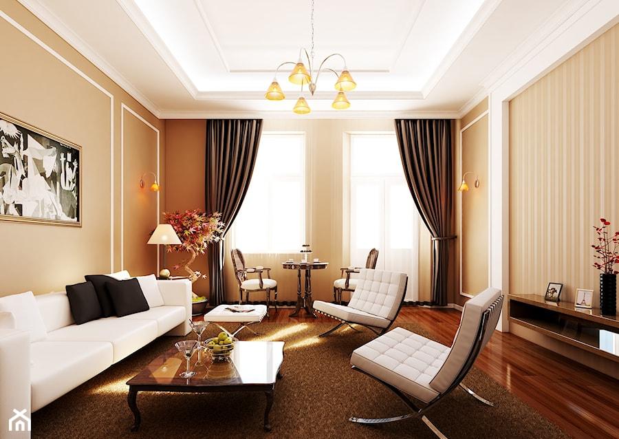 Straszewskiego - Mały pomarańczowy salon z jadalnią, styl klasyczny - zdjęcie od kaim.work