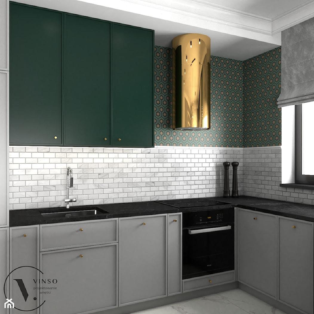 Kuchnia w kolorach butelkowej zieleni - Kuchnia, styl art deco - zdjęcie od VINSO Projektowanie Wnętrz - Homebook