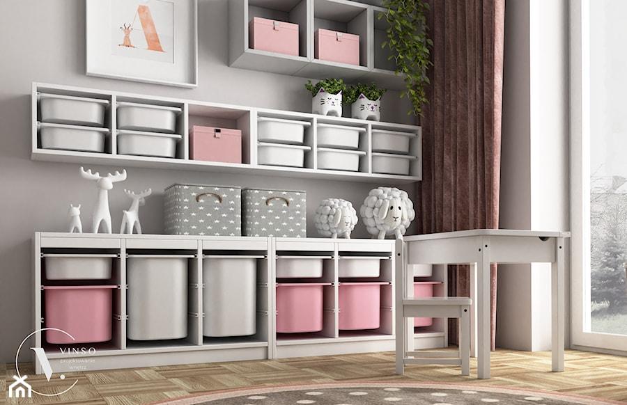Różowy pokój dla małej dziewczynki - Pokój dziecka, styl skandynawski - zdjęcie od VINSO Projektowanie Wnętrz