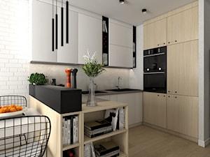 Kuchnia w dwóch wersjach w małym mieszkanku - Mała otwarta biała szara kuchnia w kształcie litery u w aneksie, styl nowoczesny - zdjęcie od VINSO projektowanie wnętrz