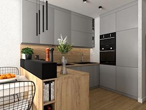 Kuchnia w dwóch wersjach w małym mieszkanku - Mała otwarta szara kuchnia w kształcie litery u, styl nowoczesny - zdjęcie od VINSO projektowanie wnętrz