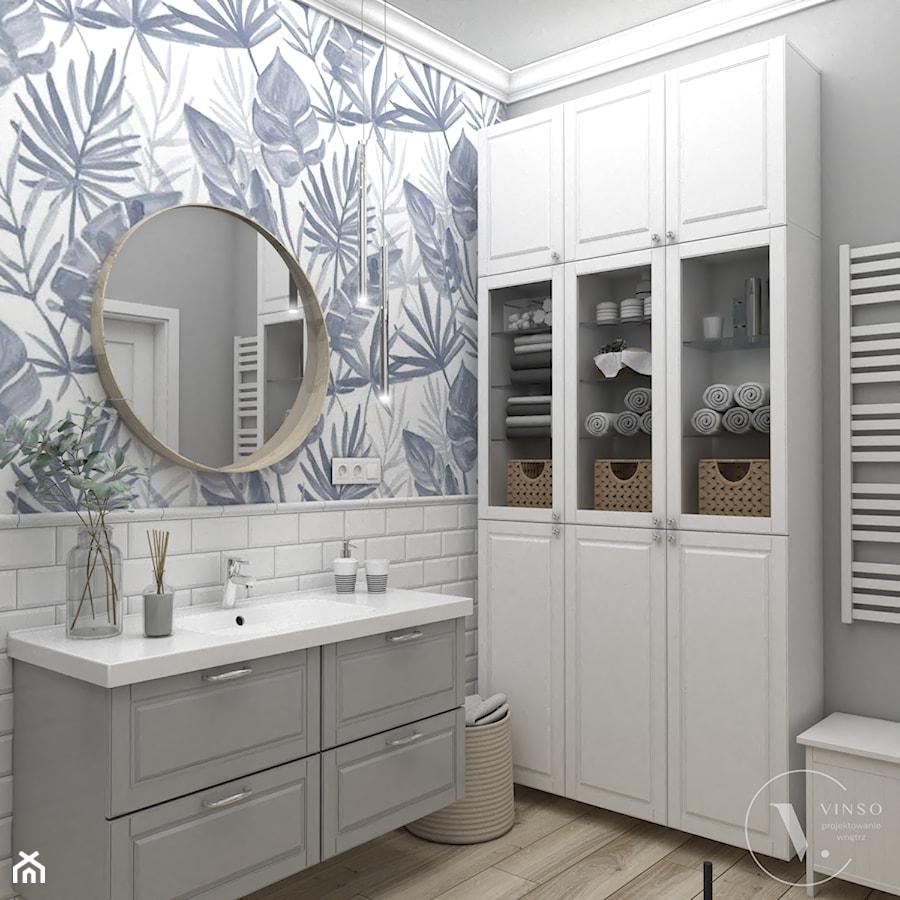 Łazienka z tapetą - Łazienka, styl skandynawski - zdjęcie od VINSO Projektowanie Wnętrz