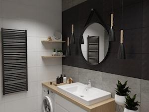 Mieszkanie na wynajem w Krakowie - Mała czarna szara łazienka na poddaszu w bloku w domu jednorodzinnym bez okna, styl nowoczesny - zdjęcie od VINSO projektowanie wnętrz