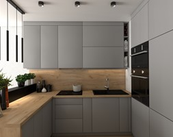 Kuchnia w dwóch wersjach w małym mieszkanku - Średnia otwarta wąska kuchnia w kształcie litery u, styl nowoczesny - zdjęcie od VINSO projektowanie wnętrz