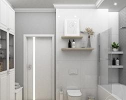 Łazienka z tapetą - Łazienka, styl skandynawski - zdjęcie od VINSO Projektowanie Wnętrz - Homebook