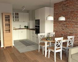 Metamorfoza salonu z otwartą kuchnią w Krakowie - Średnia otwarta biała jadalnia w kuchni w salonie, styl skandynawski - zdjęcie od VINSO projektowanie wnętrz