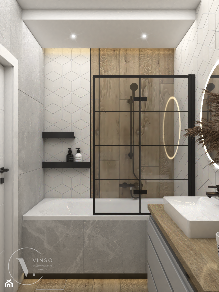 Skandynawska łazienka z czarnymi dodatkami - Łazienka, styl skandynawski - zdjęcie od VINSO Projektowanie Wnętrz