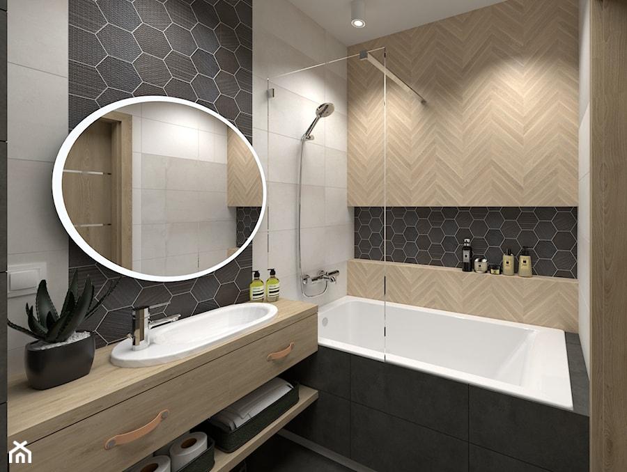 Mieszkanie na wynajem w Krakowie - inwestycja Pianissimo - Mała łazienka w bloku w domu jednorodzinnym bez okna, styl nowoczesny - zdjęcie od VINSO Projektowanie Wnętrz