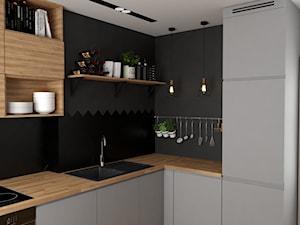 Mieszkanie w Krakowie - Mała zamknięta czarna kuchnia w kształcie litery l, styl nowoczesny - zdjęcie od VINSO projektowanie wnętrz