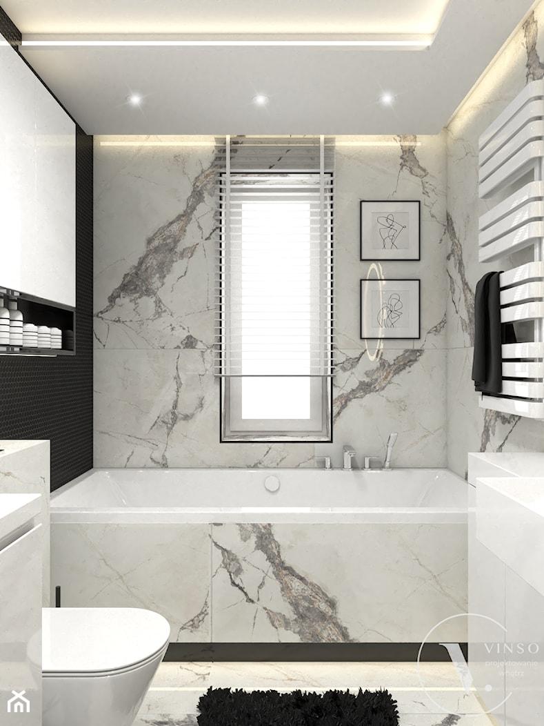 Elegancka łazienka w czarno-białej kolorystyce - Łazienka, styl nowoczesny - zdjęcie od VINSO Projektowanie Wnętrz - Homebook