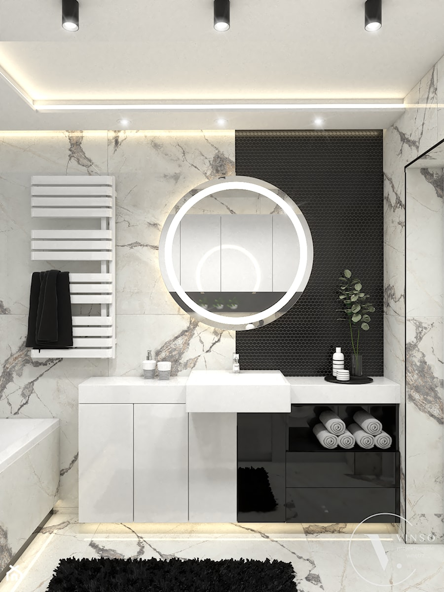 Elegancka łazienka w czarno-białej kolorystyce - Łazienka, styl nowoczesny - zdjęcie od VINSO Projektowanie Wnętrz