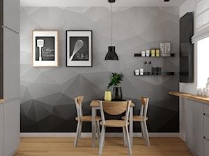 Mieszkanie w Krakowie - Średnia zamknięta szara czarna kuchnia dwurzędowa z oknem, styl nowoczesny - zdjęcie od VINSO projektowanie wnętrz